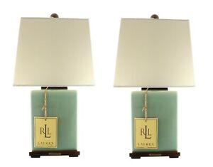 (2) RALPH LAUREN LAMPS AQUA TURQUOISE CRACKLE PORCELAIN FINISH
