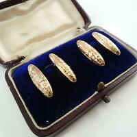 Vintage Antique 9ct Rose Gold Cufflinks Chester 1913 With Vintage Box