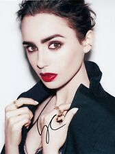 Lily Collins Signed  8x10 auto photo in Excellent Condition