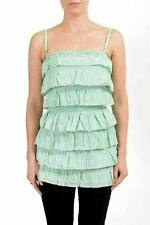 Dolce&Gabbana D&G Women's Silk Green Ruffled Tank Top US S IT 40