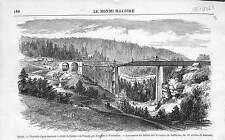 Chemin de Fer Railway Train Suisse-France Viaduc Vallorbe ANTIQUE PRINT 1869