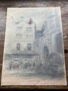 Antique Pencil and Wash, Old Fish Shop. London.