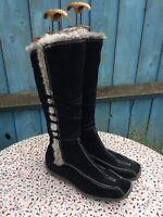 TAMARIS - Black Suede - Fur Trim - Strap - Zip Up - Mid Calf - Boots - UK 7