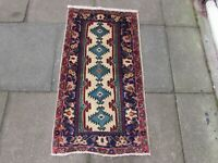 Vintage Hand Made Traditional Rug Oriental Wool Blue Red Small Rug 114x61cm