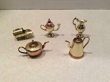 Brass/copper miniature kitchen pots/kettles, scoop, 5 pieces LOT