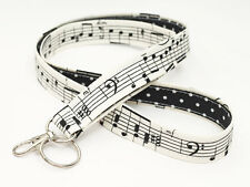 Teacher Lanyard Badge Neck Strap Key Chain Key Lanyards - music notes black dots