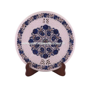 """15"""" Round Marble Coffee Cafe Grill Work Table Lapis Inlay Design Home Decor M076"""
