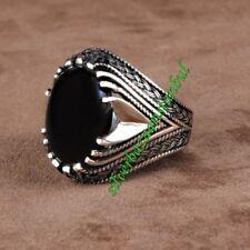 Turkish Handmade 925 Sterling Silver black onyx Mens Ring Sz 11 us Free Resize