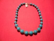 "Howlite Graduated Bead Necklace in Stainless Steel (20-22"") 360.00 Carats"