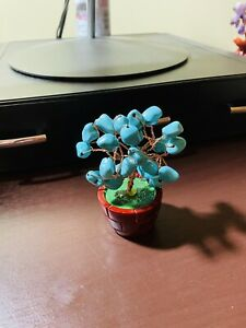 Great Christmas Gift! Small Decorative Natural Turquoise Bonzai Tree