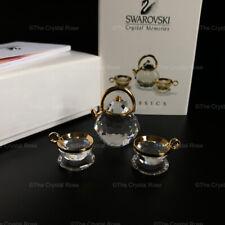 RARE Swarovski Crystal Memories Classic Gold Tea Set Teapot Cups 174009 Boxed