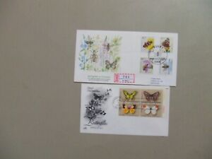 Three BUTTERFLY fdc :Germany anf Finland registered,US block of four