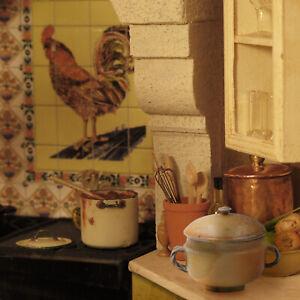 Andrea Fabrega porcelain 2 handled tan pot with lid - miniature IGMA Fellow 1:12