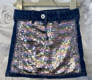 Girls Age 4-5 Years - Denim & Sequin Skirt