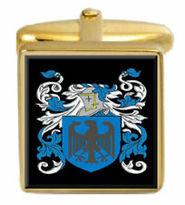 Mandeville England Family Crest Surname Coat Of Arms Gold Cufflinks Engraved Box