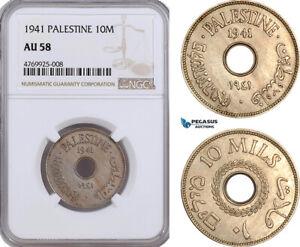 AE884, Palestine, 10 Mils 1941, London, NGC AU58