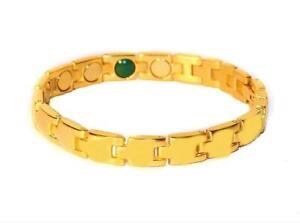 Magnetic Link Bracelet Gold Tone Metal Pain Therapy Bracelets