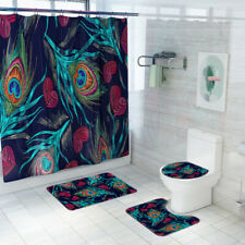 Peacock Feather Eye Shower Room Bath Curtain Toilet Seat 4 Piece Bathroom Set