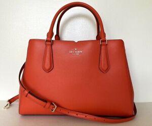 New Kate Spade Tippy Medium Triple compartment satchel Leather Tamarillo