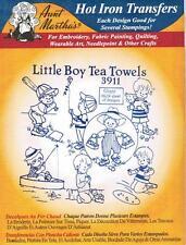 Little Boy Tea Towels Aunt Martha's Hot Iron Embroidery Transfer #3911