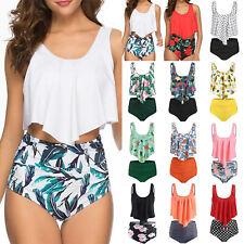 Damen High Waist Bikini Set Push Up Bademode Badeanzug Tankini Schwimmanzug Top