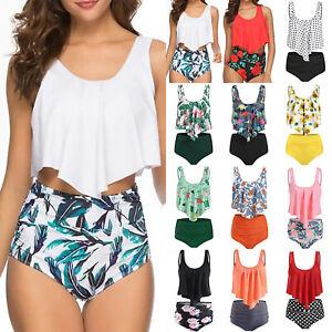 Damen High Waist Bikini Set Push Up Schwimmanzugn Bademode Tankini Badeanzug Top