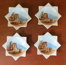 Set of 4 Castle Porcelain Butter Pat 8-Sided Star Dishes