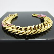 Real Solid Womens Mens 18ct Yellow Gold GF Bracelet Bangle Heavy Chunky Chain