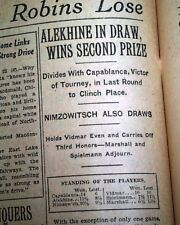 JOSE CAPABLANCA Cuban Chess Player Tournament Victory & Babe Ruth 1927 Newspaper