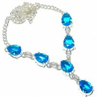 "Swiss Blue Topaz Gemstone Handmade Ethnic Style Jewelry Necklace 18"" VJ-8535"