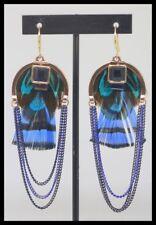 Boucles d oreilles BIJOUX IKITA PARIS nacre plume or dore bleu choc mode