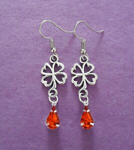 Tibetan Silver Clover & Red Crystal Teardrop Dangle Earrings - 32mm - New
