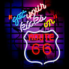 """New Get Yours Kicks On Route 66 Beer Bar Neon Light Sign 24""""x20"""""""