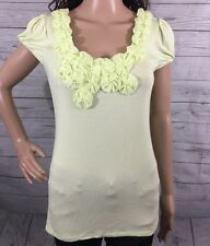 Pastel Neon Yellow Shirt Small Grace Rayon Blend Sexy Fabric Floral Summer Top