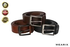 100% Genuine Leather Men Belts with pin buckle for Trouser Jeans Brown Black Tan