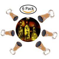 6x Solar Warm Wine Bottle Cork Shape Lights 10 LED Night Fairy String Light Lamp