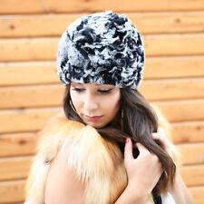 Knit Rex Rabbit Fur Beanie Hat