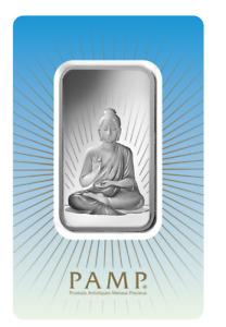 1 oz Pamp Suisse BUDDA  .999 Fine Silver Bar Classic Design In Assay