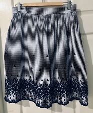 Kate Spade Navy Striped Embroidered Skirt Size 10