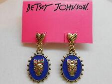 Betsey Johnson Ivy League Blue Cameo Skull Earrings w Goldtone Heart Posts
