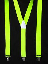 Hosenträger 3 Clip NEONGELB neon gelb 120cm Made in Germany Blickfang Unisex NEU