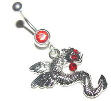 Belly Bar Dangle Dragon 14g 316 Stainless Steel