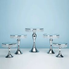 5pc. Silver Electroplate Crystal Mirror Face Wedding Party Cake Stand Set
