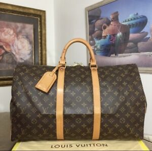 Louis Vuitton Monogram Canvas Leather Keepall 50 Luggage Duffel Bag Carrier