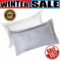 2 x Sateen Housewife Pillow Case 100% Egyptian Cotton Stripe 400TC Bedding Set