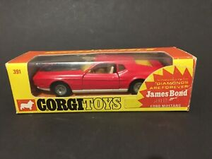 "1970s Corgi 391 Whizzwheel Ford Mustang Mach 1- 007 ""Diamond are forever "" boxed"