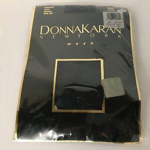 Donna Karan New York Mesh Pantyhose Nylons Midnight Navy Medium Control Top 280