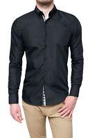 Camicia uomo Class Sartoriale nero elegante casual slim fit in cotone da S a 3XL