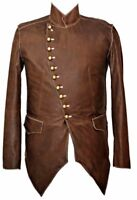 Mans Mens REAL LEATHER COAT JACKET MILITARY TUNIC ROCK GOTH STEAMPUNK BROWN