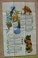 Vtg Calendar 1994 Linen Kitchen Dish Tea Towel Wall Hanging Kittens Cat Kay Dee